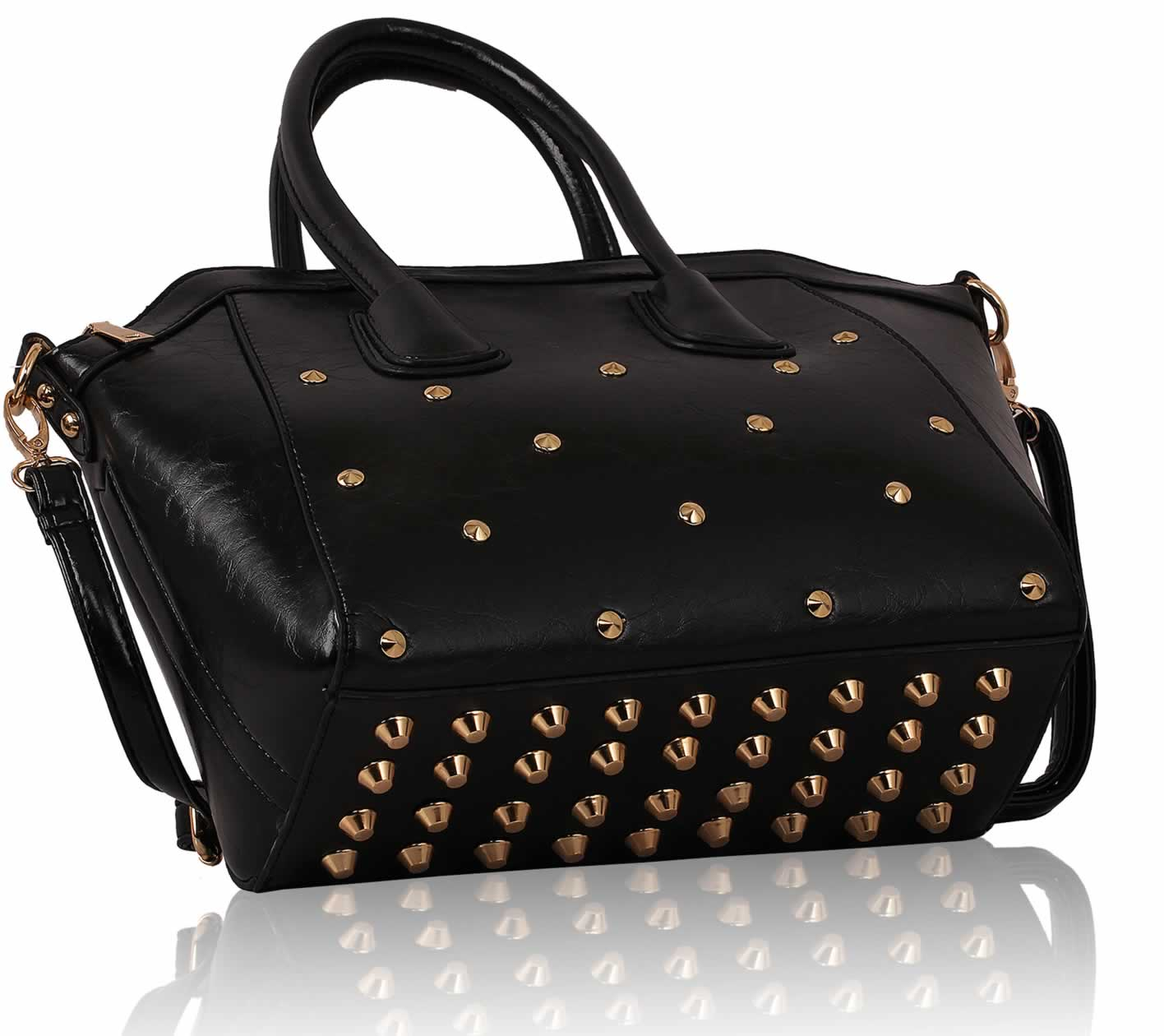 I know where this is from but please let me know when It goes back up on the website! #alex #alexanderwang #rockie #alexanderwangrockie #gold #goldstuds #goldstudded #bottom #black #leather #purse #bag #satchel #brandy #melville #brandymelville #knock #knockoff.