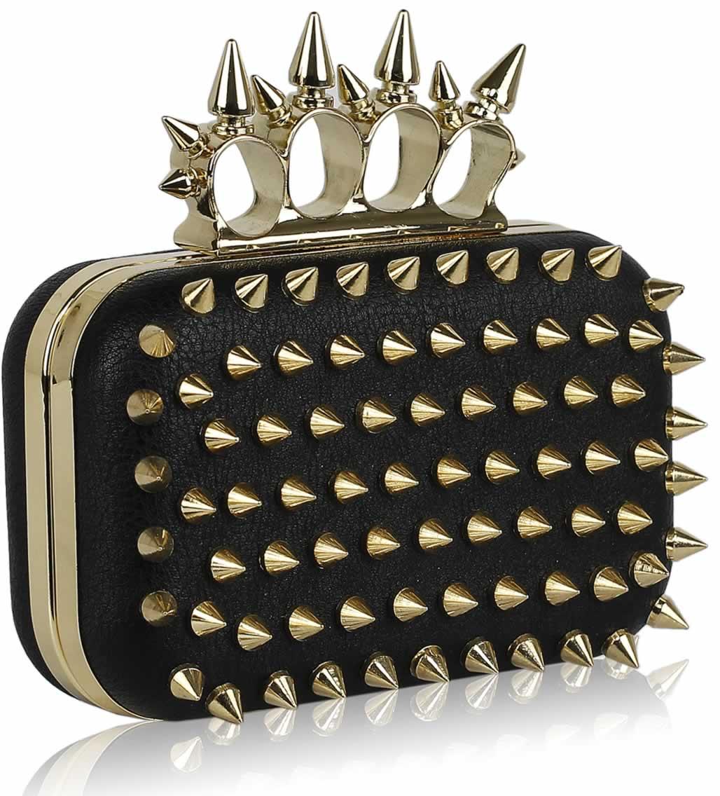 Wholesale Black Gold Punk Spike Skull Ring Clutch Purse