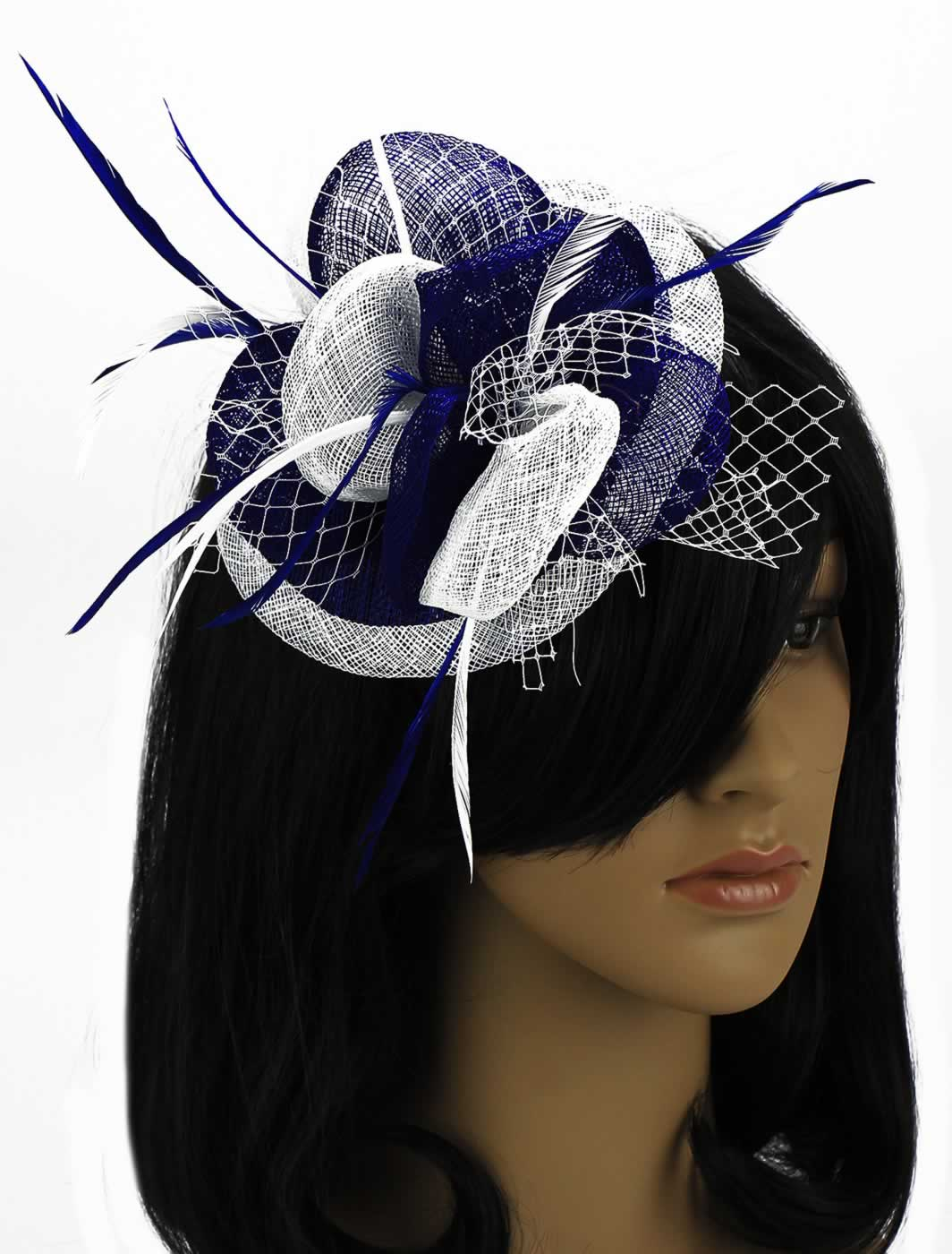Wholesale Blue   White Mesh   Feather Fascinator on Clip d7ac0113a75