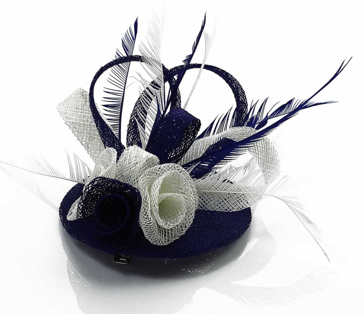 Wholesale Navy   White Feather   Mesh Flower Fascinator on Comb-  Hairbands-Hair accessories 370ae3c81f9