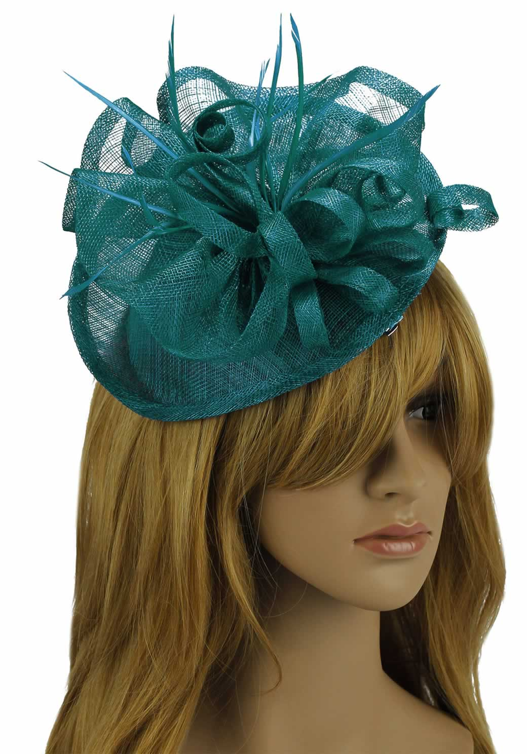 Wholesale Teal Mesh Hat Feather Fascinator