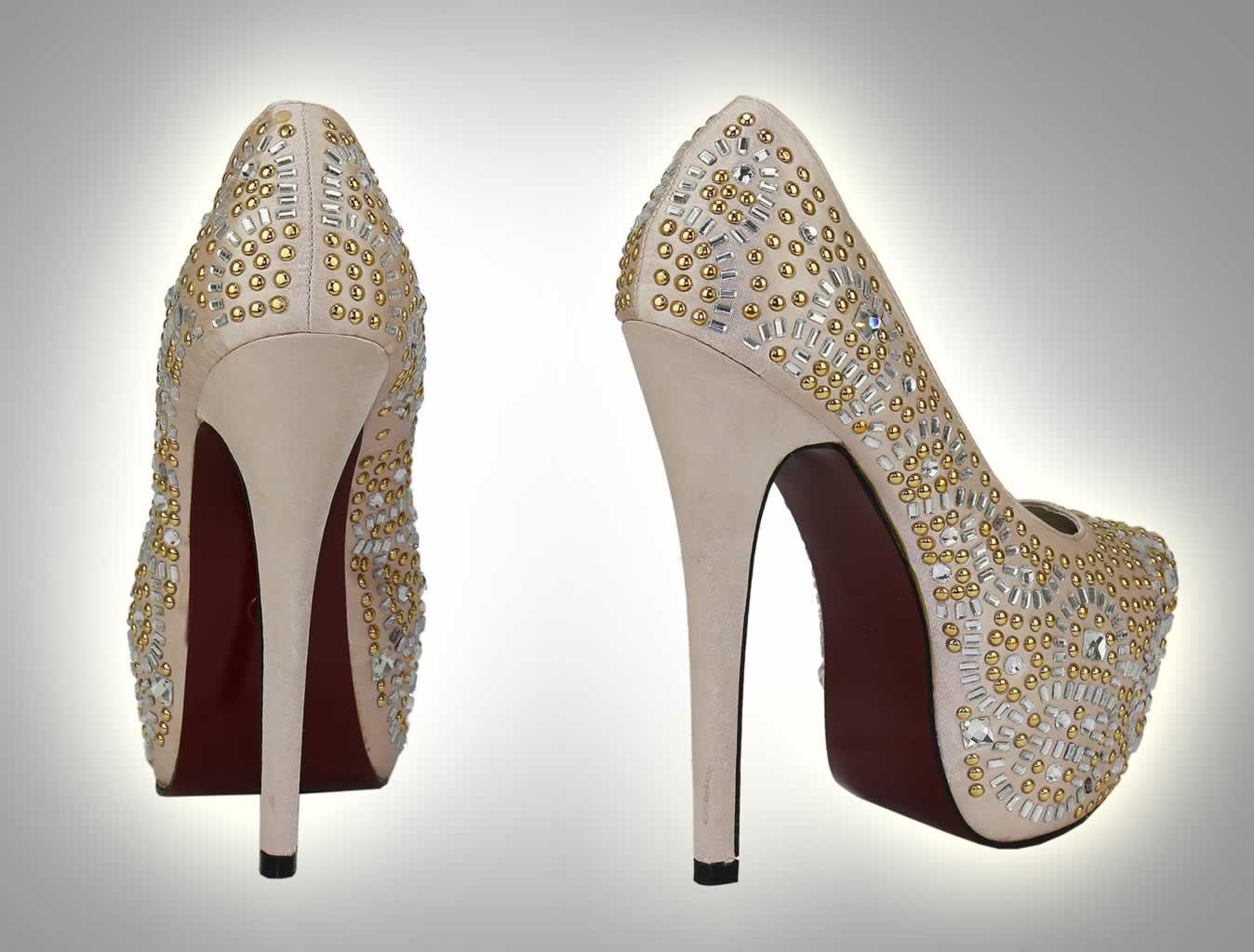 Wholesale Shoes    LSS00117 - Champagne Studded Platform Shoes ... 462af39118