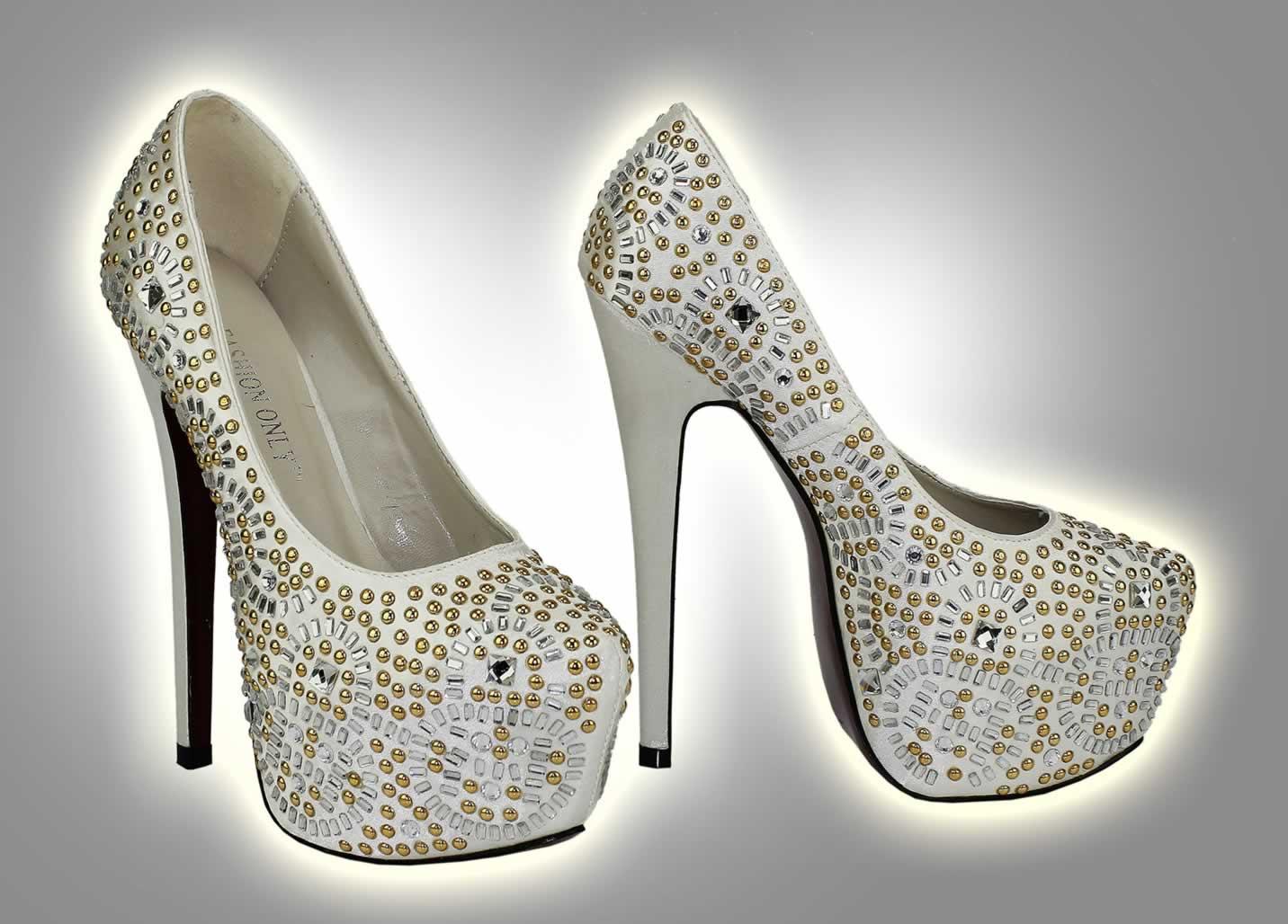 Wholesale Shoes    LSS00117 - Ivory Studded Platform Shoes - Ladies ... 88bae756b8