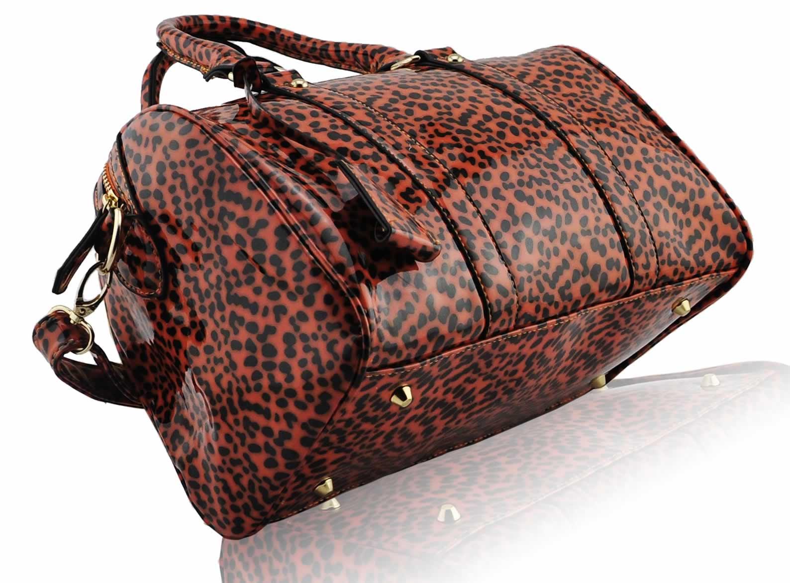Home Sale   LS7008B - Orange Patent Animal Print Bowling HandbagOrange Animal Print