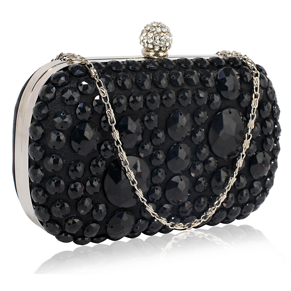 Wholesale Black Sparkly Crystal Satin Clutch purse c17a41c2b1