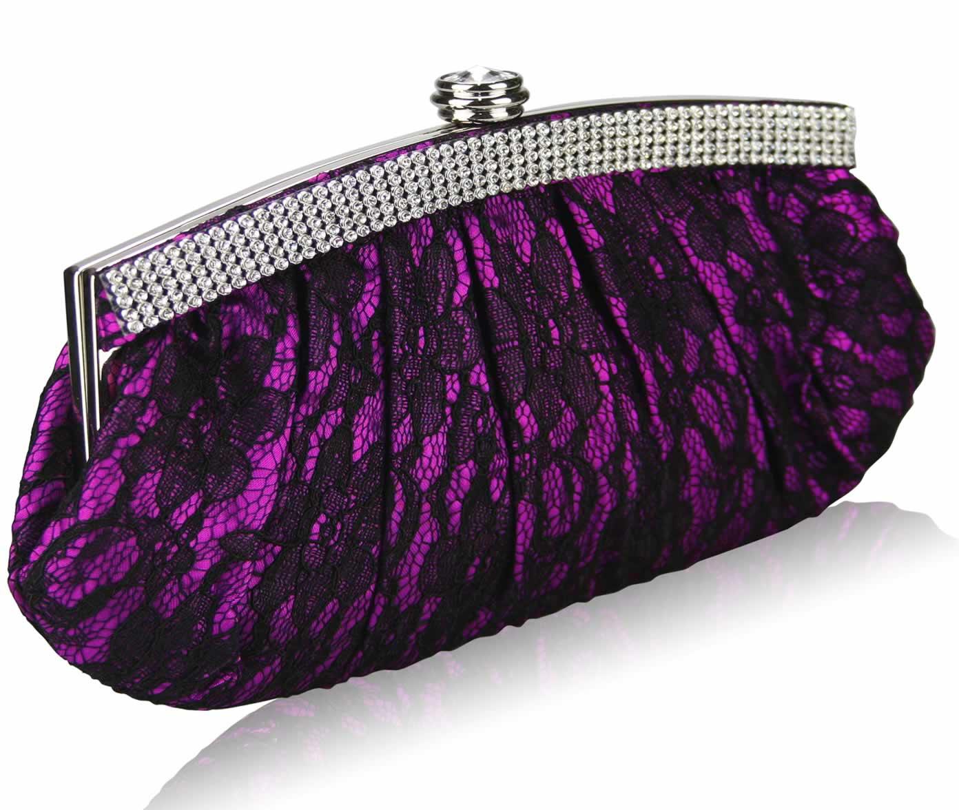 Wholesale Purple Floral Satin Lace Clutch Bag