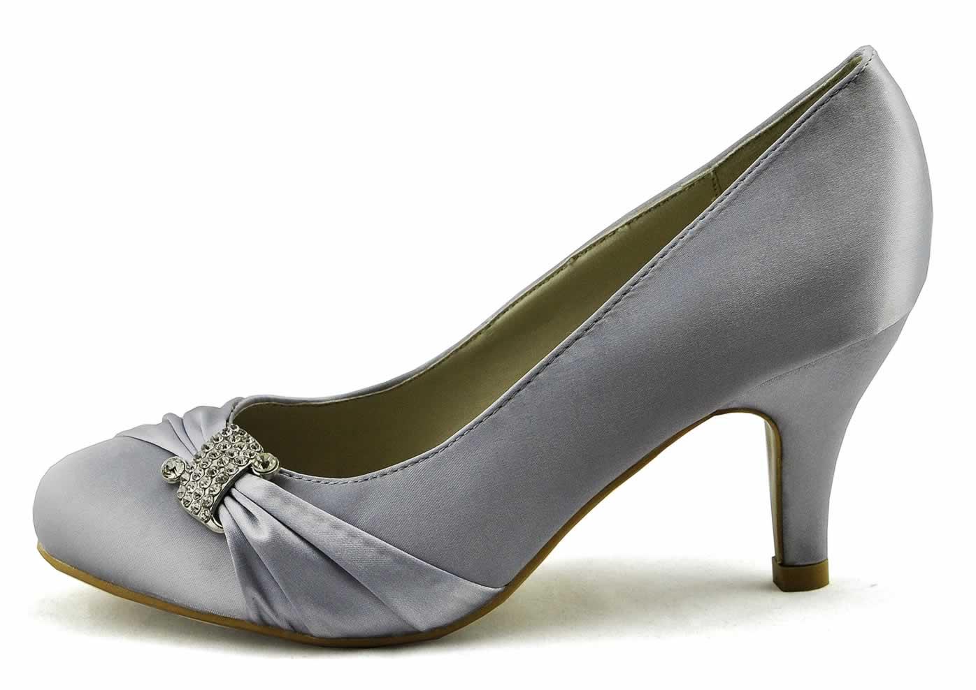Shoes :: LSS00132 - Silver Diamante Satin Court Shoes - Ladies ...