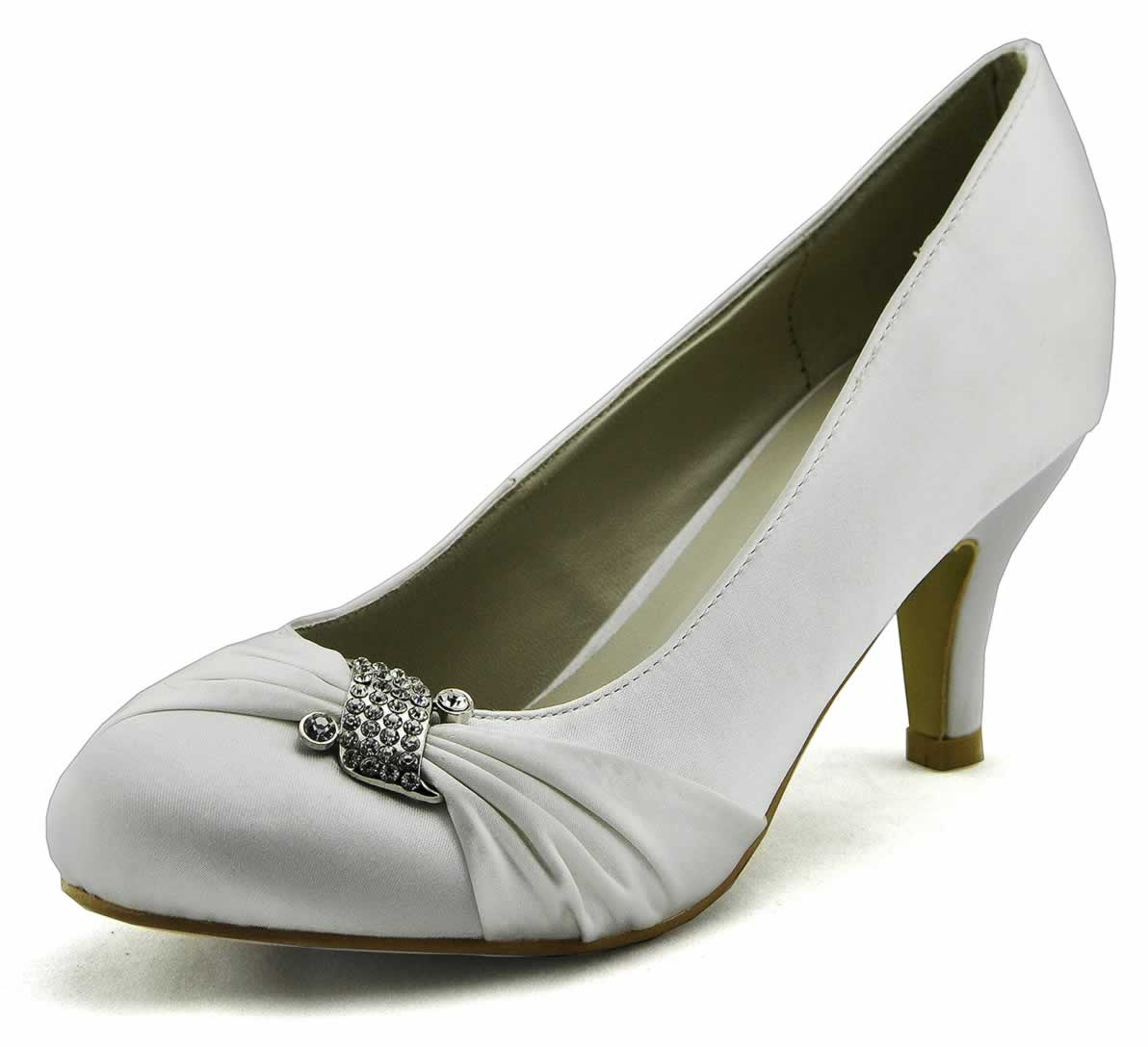 shoes lss00132 white diamante satin court shoes