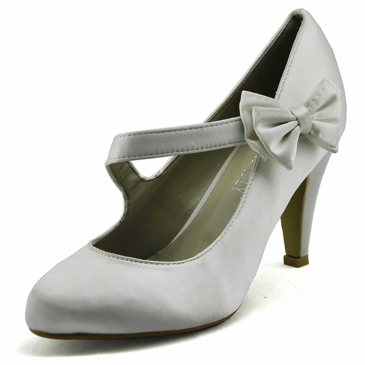 shoes lss00134 white satin court shoes