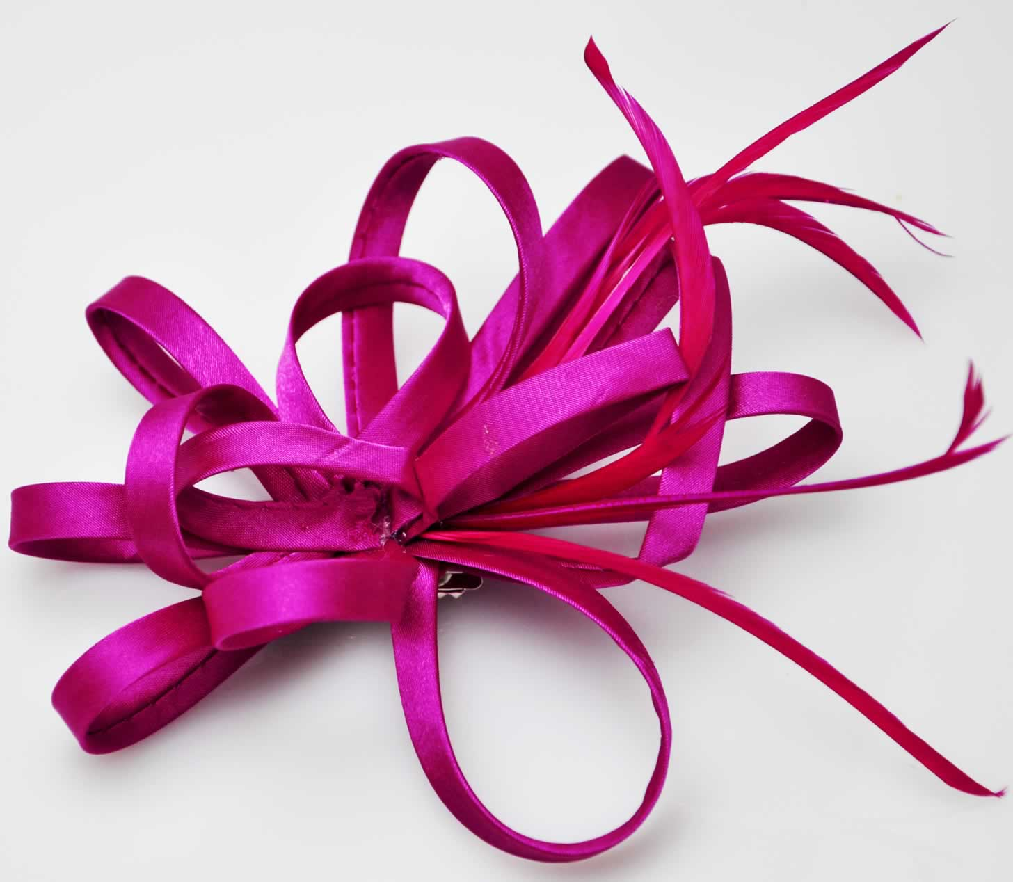 LSH00170 - Fuchsia Feather   Flower Fascinator on Clip 1c8b22f309c