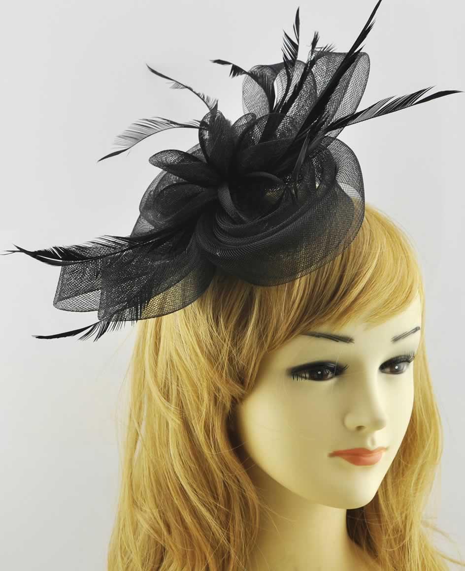 AGF00211 - Black Feather & Flower Fascinator