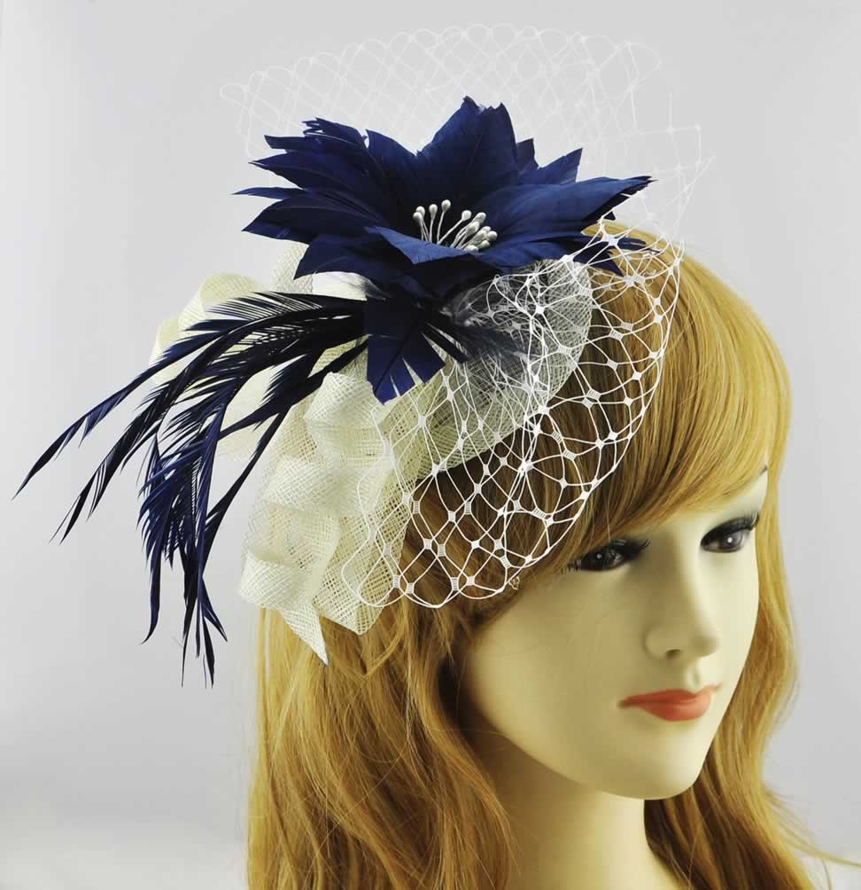 Wholesale Navy White Mesh Hat Feather Fascinator ca87289d3a3