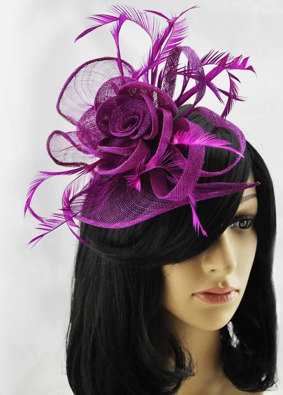 Wholesale Purple Feather   Mesh Flower Fascinator on Comb- Hairbands-Hair  accessories 1cdb2b892