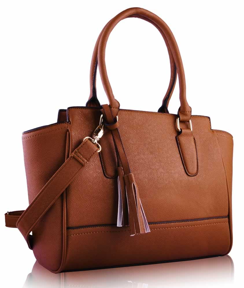 Wholesale Brown Tassel Grab Tote Bag