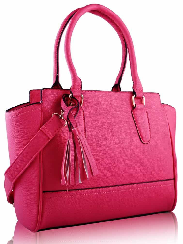 Wholesale Pink Tassel Grab Tote Bag
