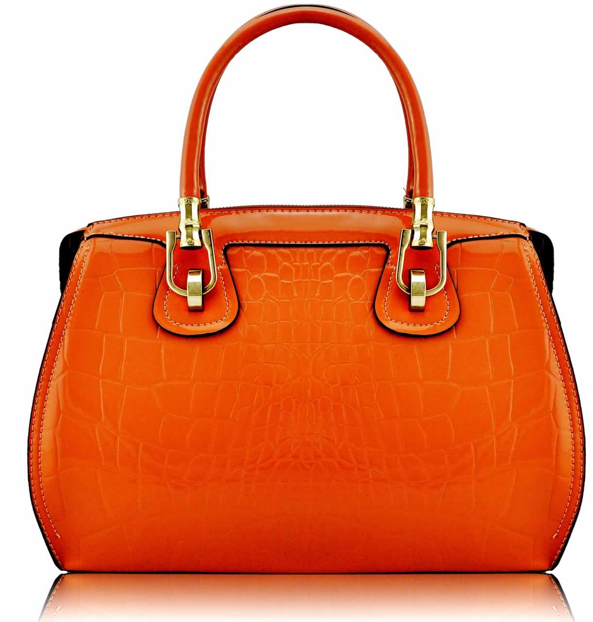 Home HANDBAGS LS0022 - Orange Croc Grab Bag