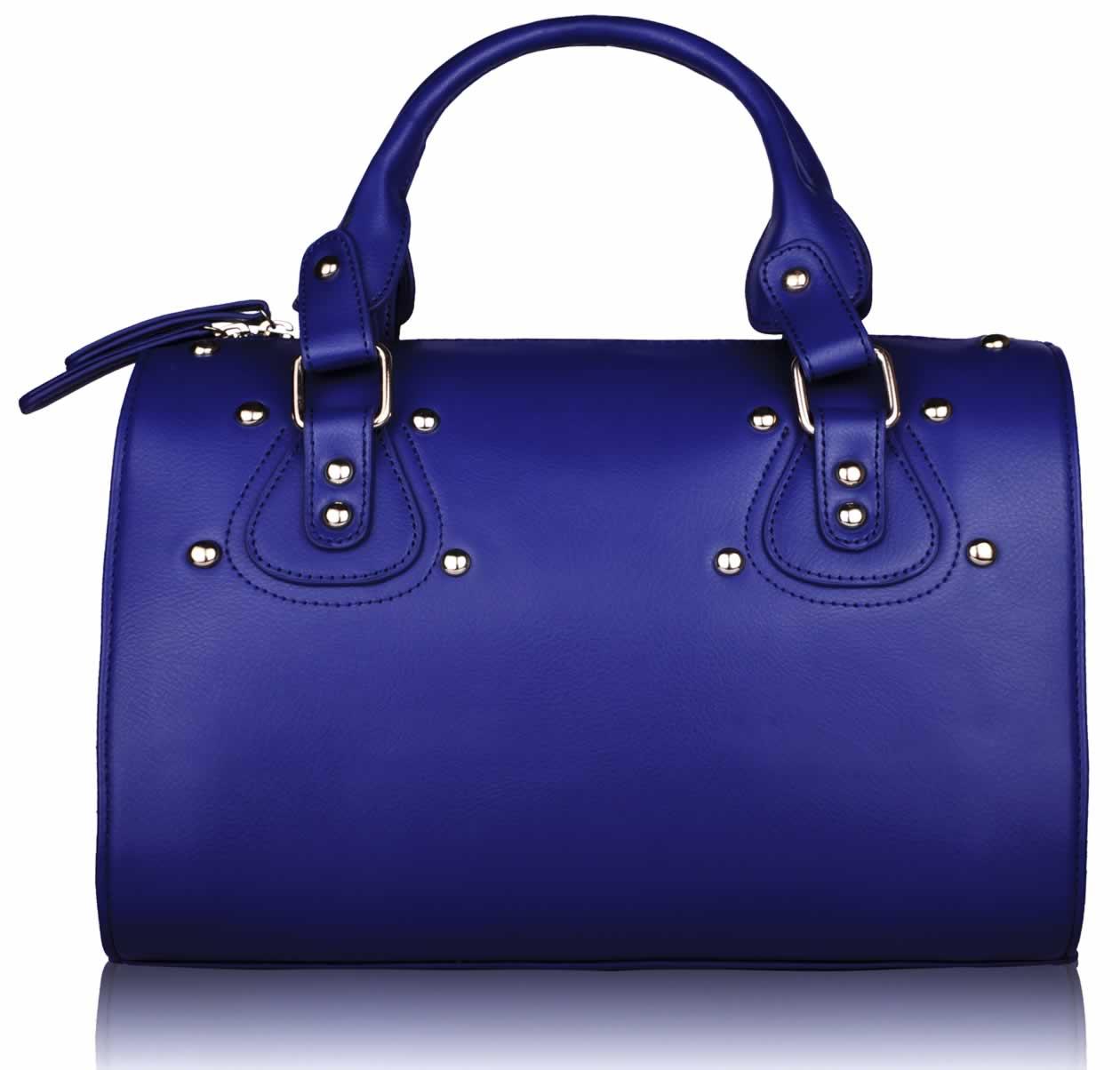 Home Sale ! LS0043A - Blue Studded Fashion Satchel Handbag