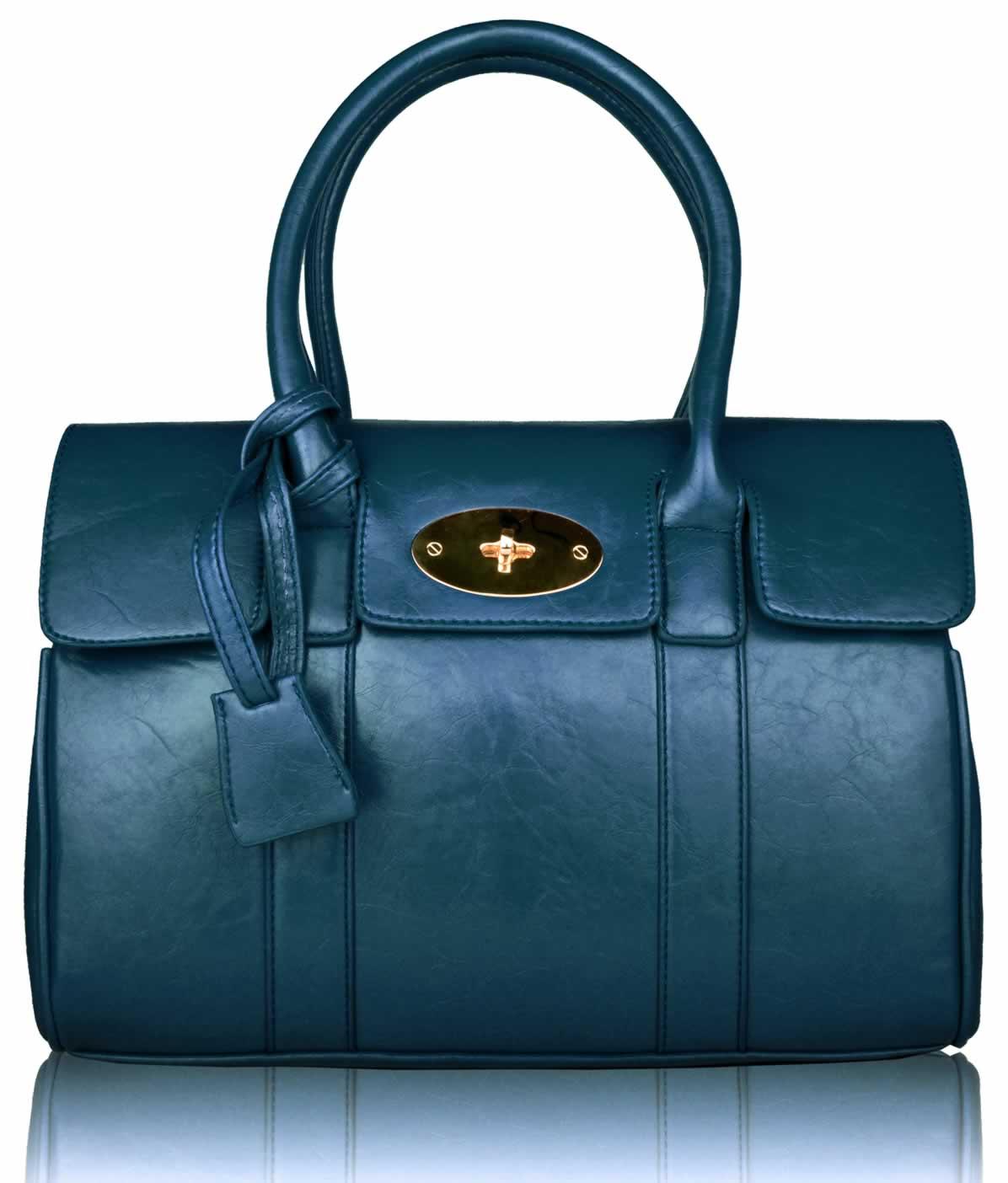 Home HANDBAGS LS0045- Teal Blue Ladies Fashion Satchel Bag