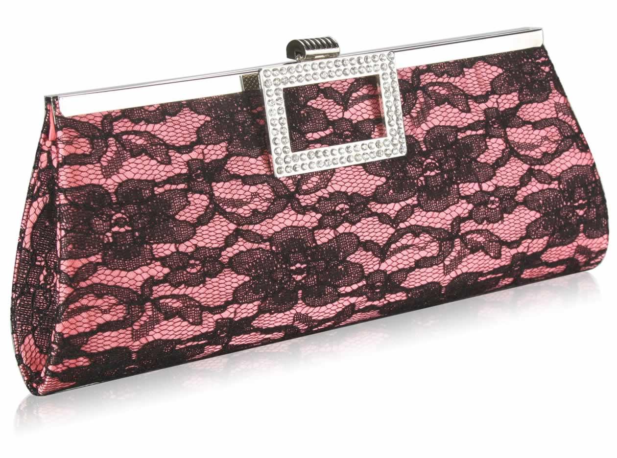 0769973de0a Wholesale Pink Elegant Floral Satin Lace Clutch Bag