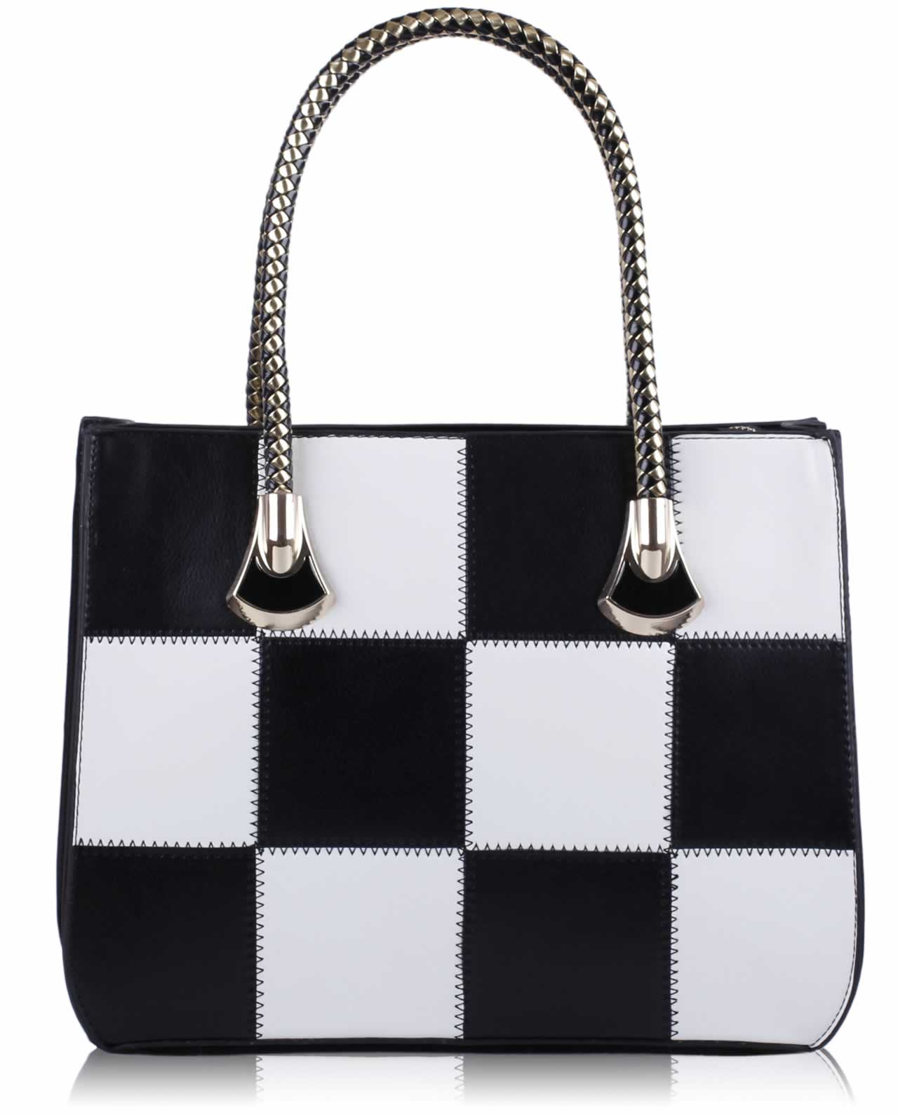 Wholesale Black and White Checkered Grab Shoulder Bag