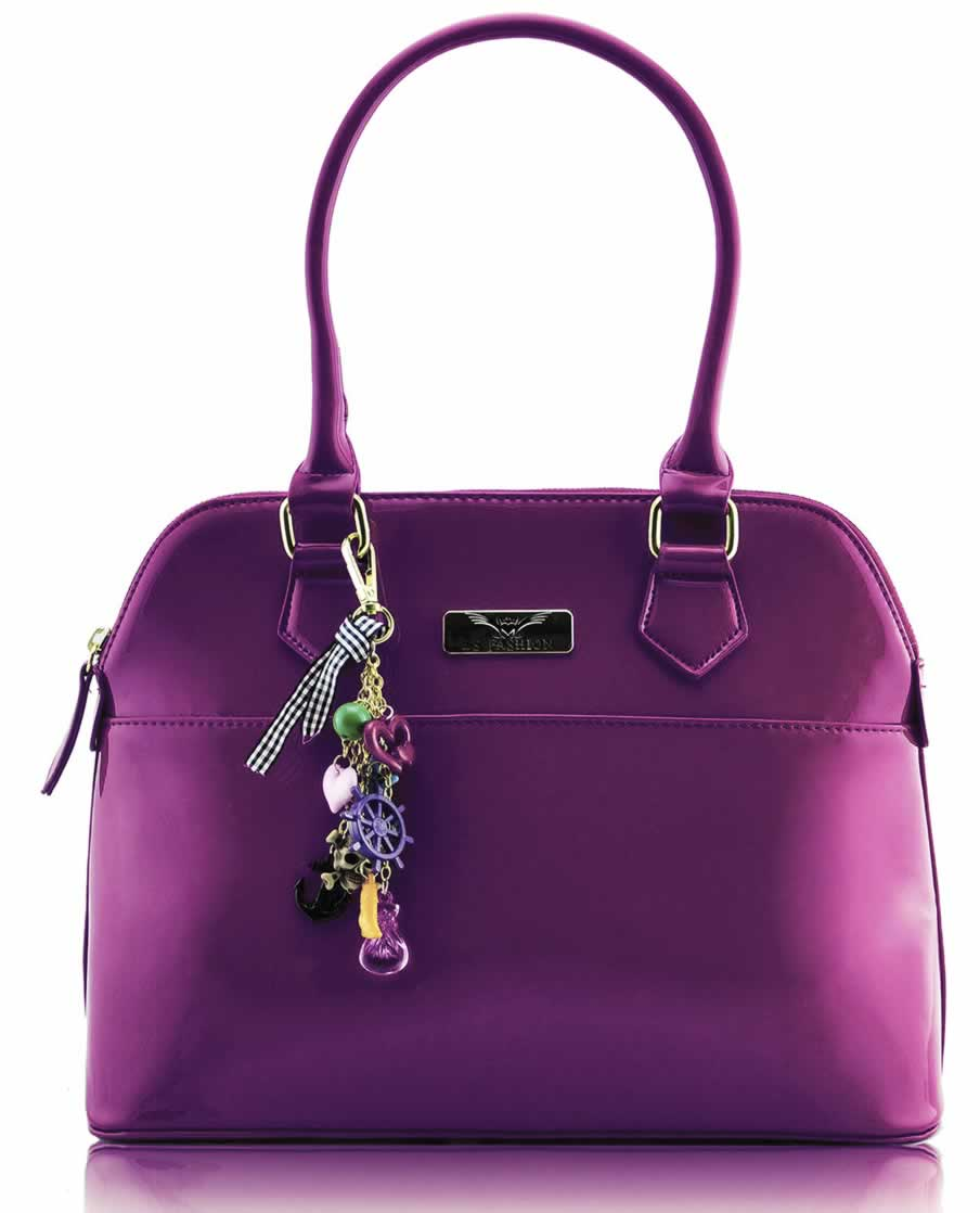 Home HANDBAGS LS6001 - Purple Patent Tote Fashion Handbag