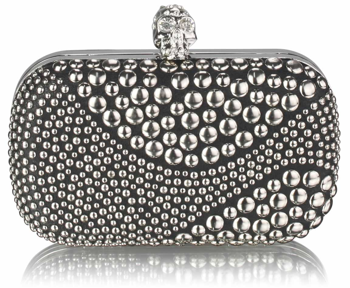 hoard as a rare commodity look for search for clearance Wholesale Black / Silver Studded Box Clutch Bag