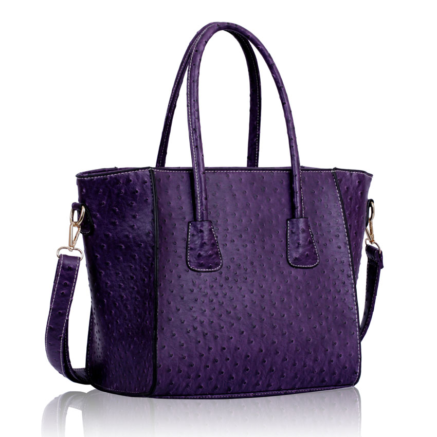 Home HANDBAGS LS00234 - Purple Ostrich Tote Handbag