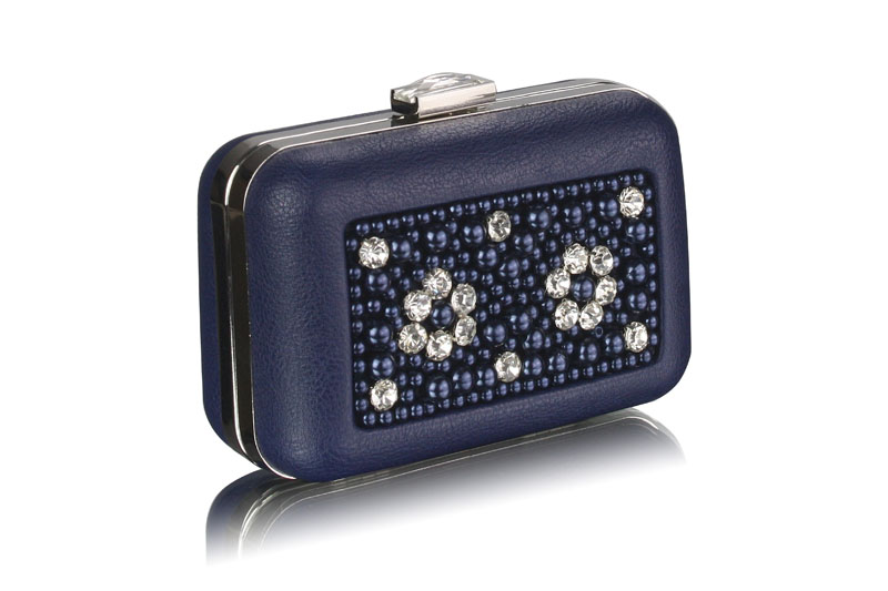 wholesale navy beaded box clutch bag with decoration