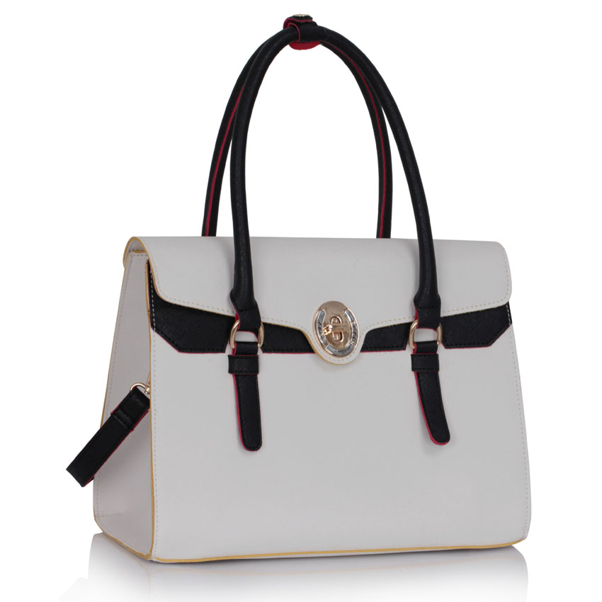 Wholesale White / Black Grab Shoulder Bag