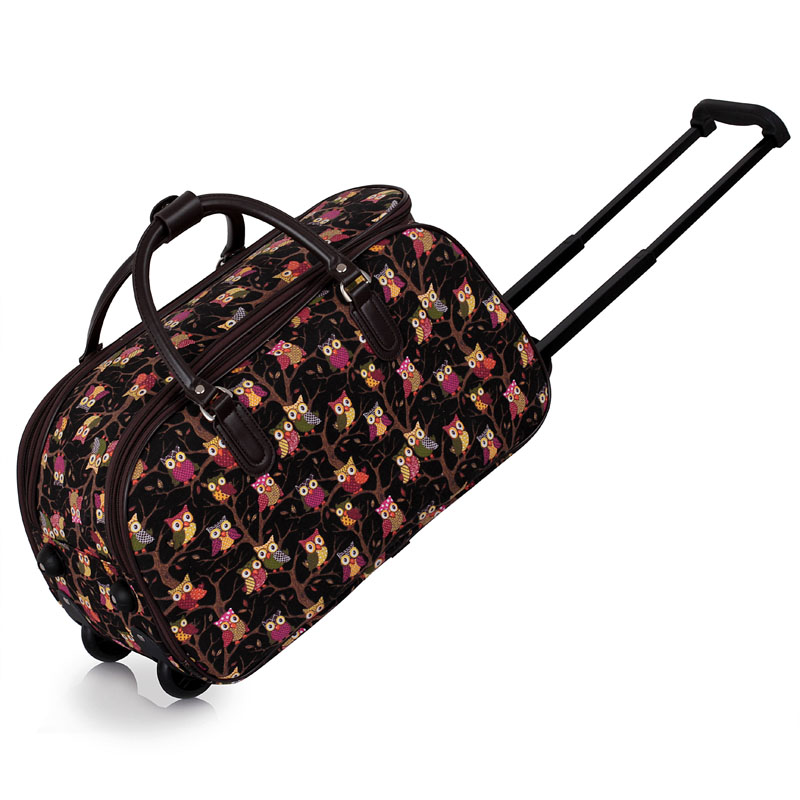 black owl print travel holdall trolley luggage with wheels cabin approved. Black Bedroom Furniture Sets. Home Design Ideas
