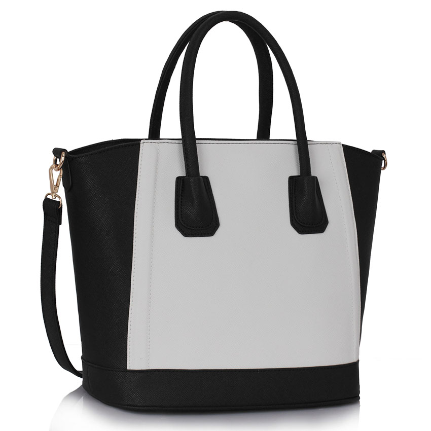 Black / White Tote Bag With Long Strap