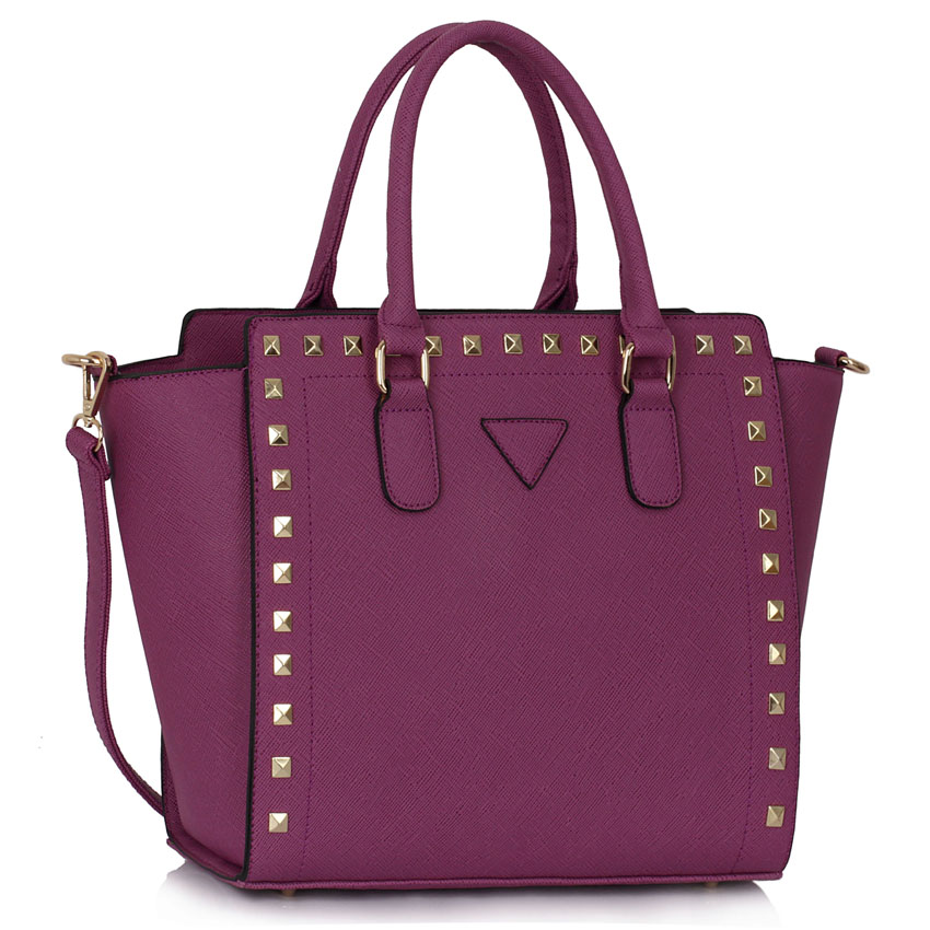Home HANDBAGS LS00287 - Purple Studs Decorated Tote Bag