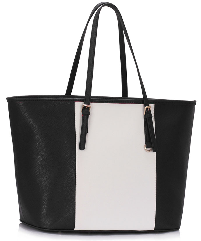 LS00297A - Black / White Women's Large Tote Bag