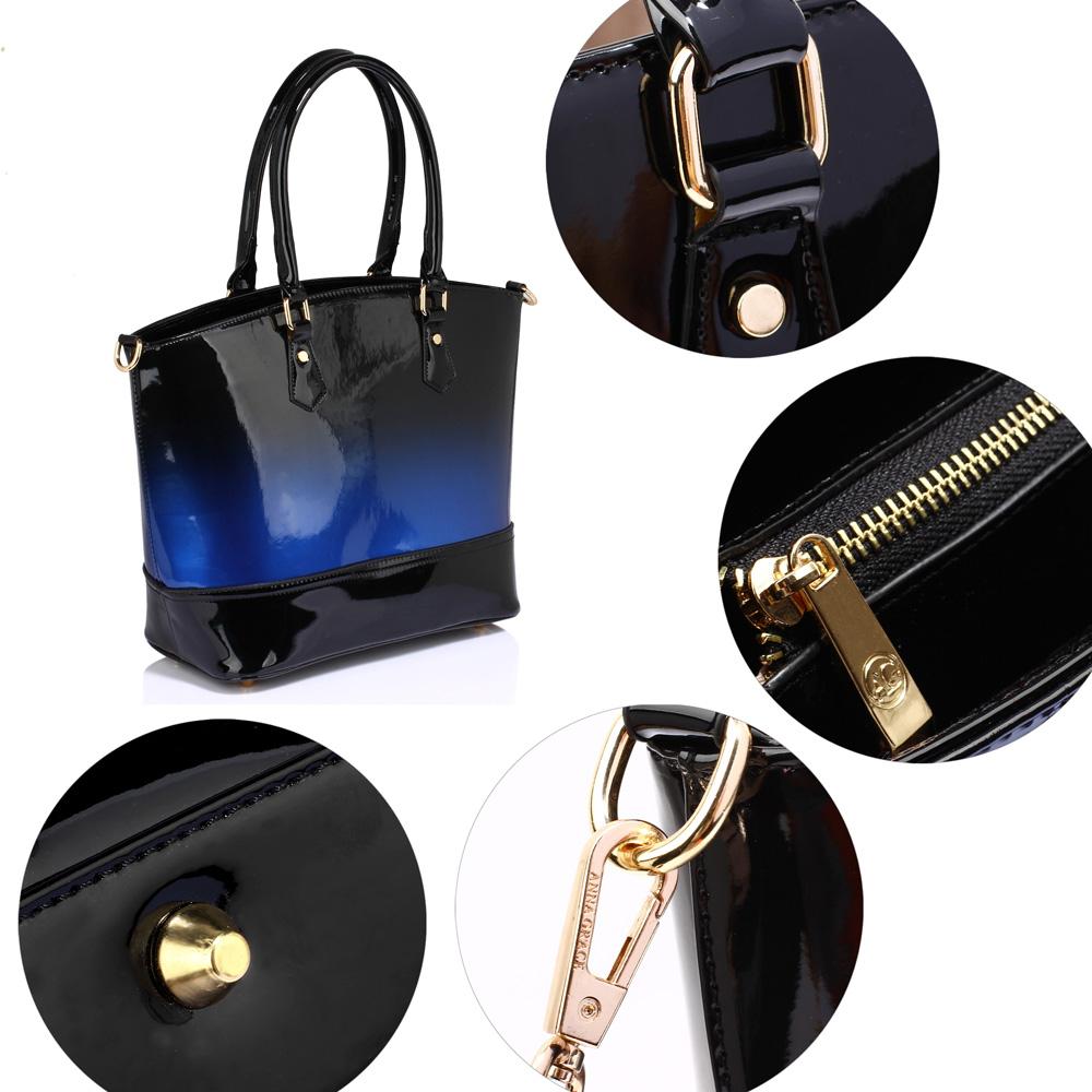 60e14563f03573 Wholesale AG0039A - Navy Patent Two Tone Handbag