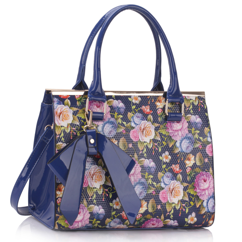 Blue Floral Print Grab Bag With Bow Charm