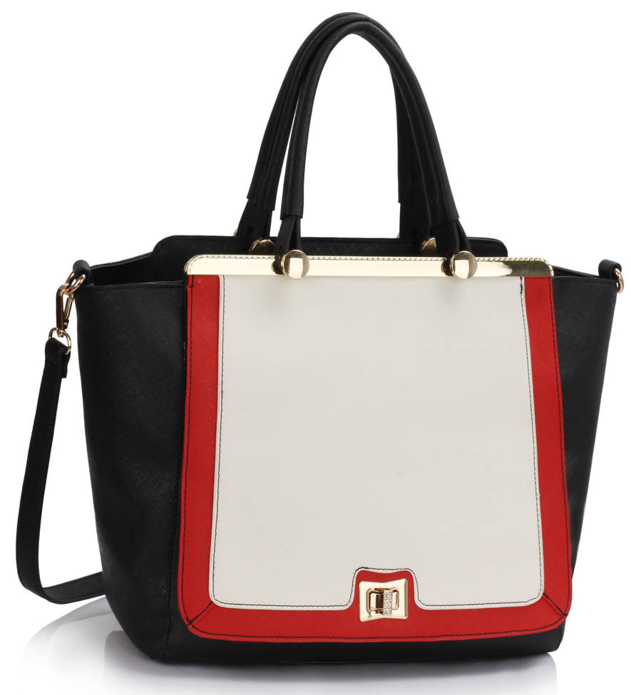 LS00358  -  Kabelka Černá/Bílá/Červená barva