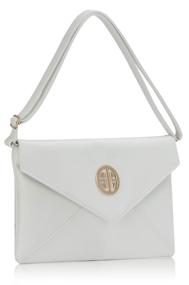 Home clutch bags lse00220a white large flap clutch purse