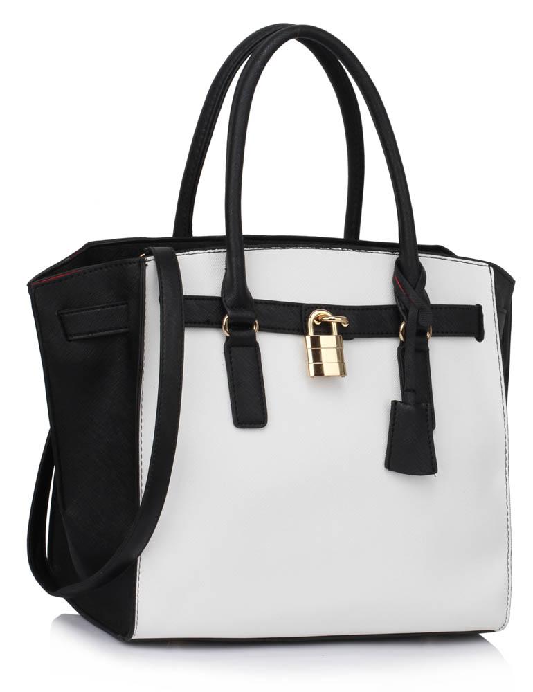 LS00396  -  Kabelka Černá/Bílá barva