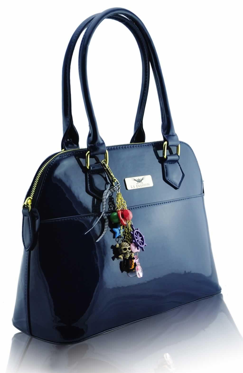 Tote Bag Design: Navy Patent Tote Bag