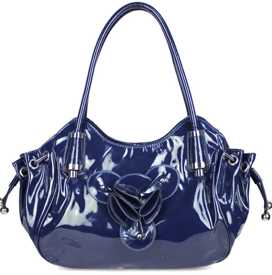 Home HANDBAGS LS1155 - Blue Patent Fashion Drawstring Shoulder Handbag