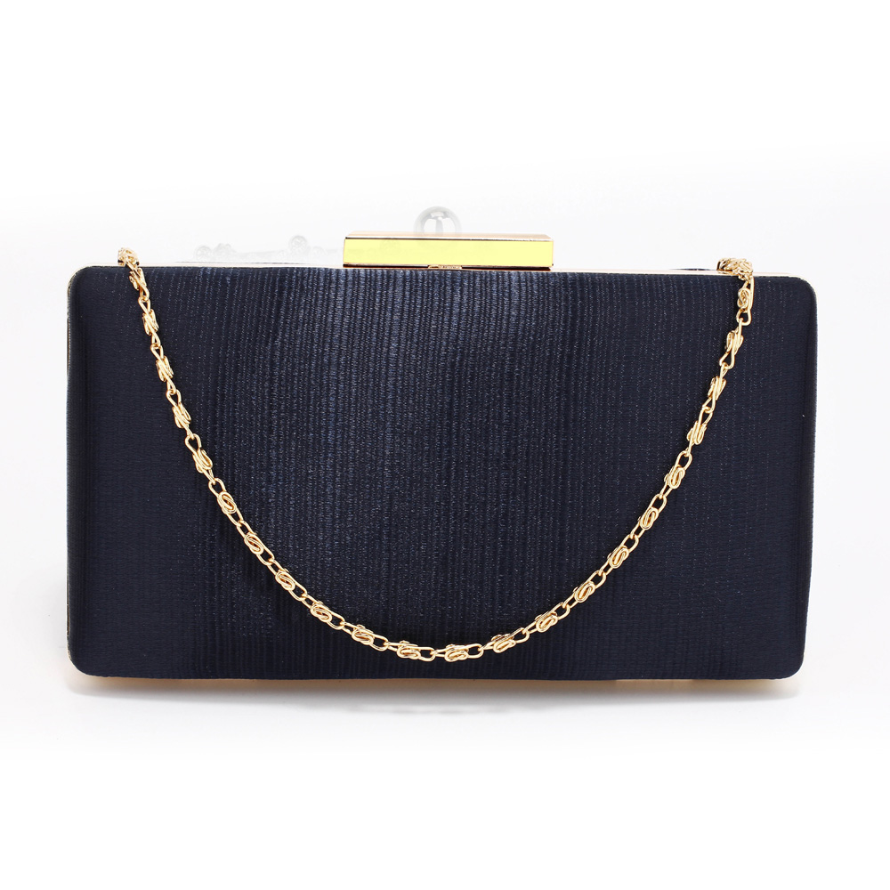 LSE00314 - Navy Satin Clutch Evening Bag