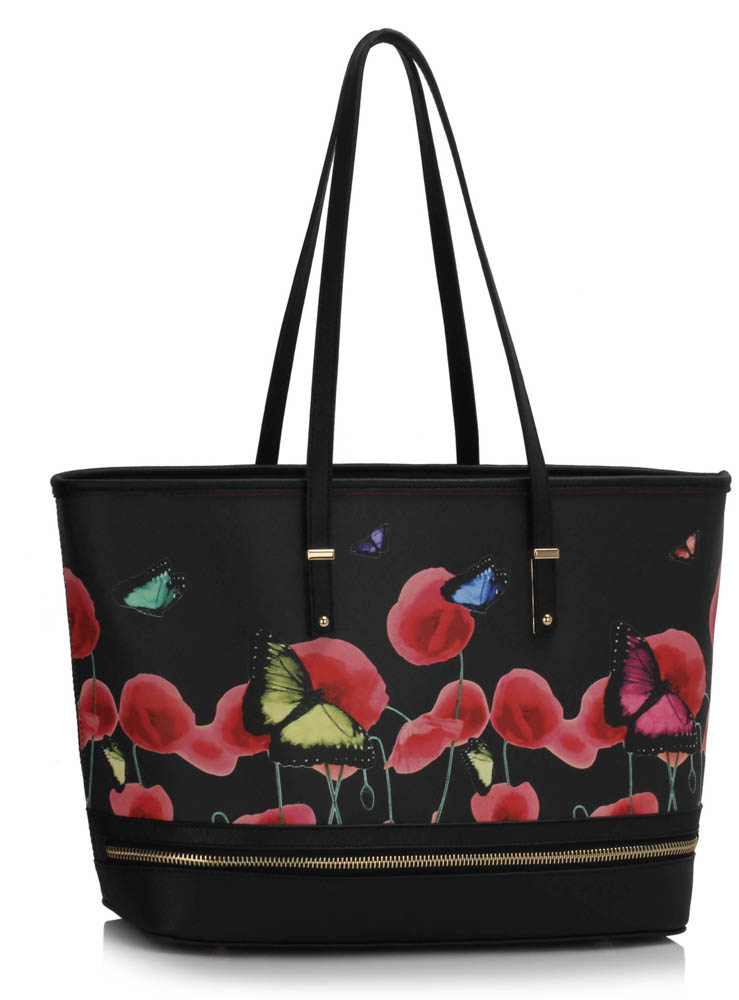 Ls00460a Black Zip Detail Butterfly Print Tote Bag