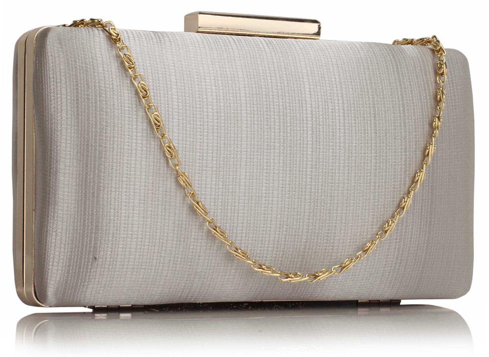 LSE00314 - Silver Satin Clutch Evening Bag