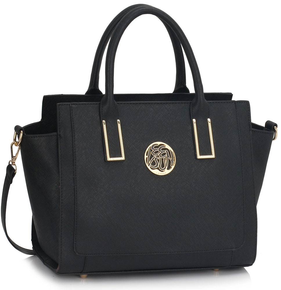 LS00338A - Black Tote Bag With Long Strap