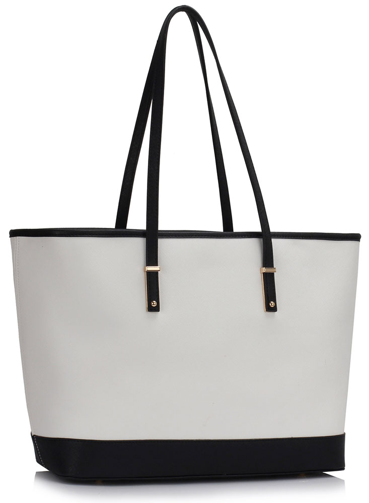 dac03f3455c LS00461 - Black /White Women's Large Tote Bag