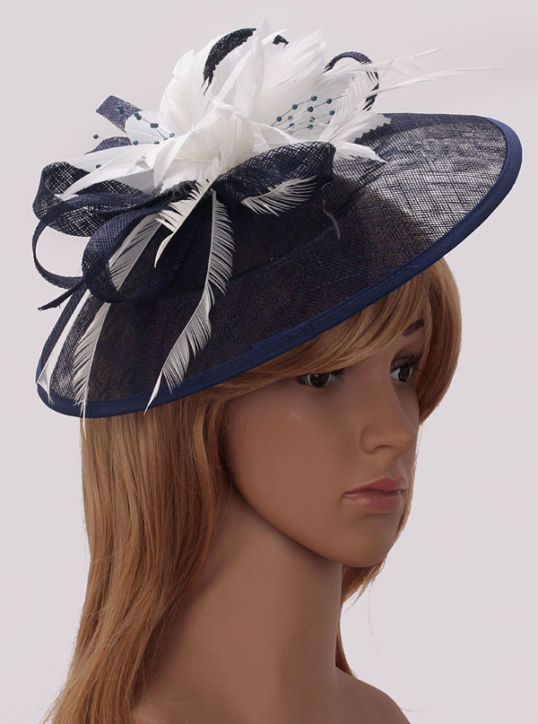 Wholesale Navy   White Mesh Hat Feather Fascinator 06f7256cd4ea
