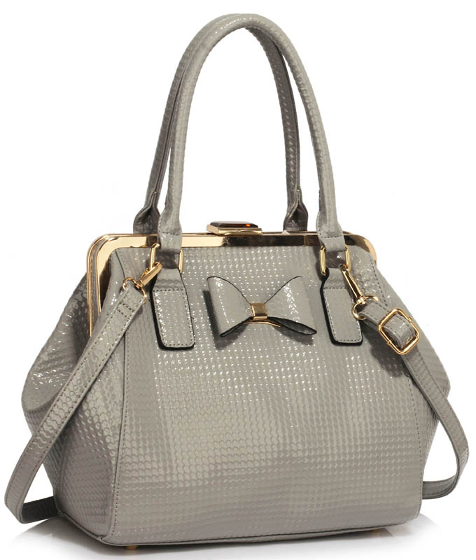 LS00258B - Grey Patent Bow Framed Satchel 1459987f526ee