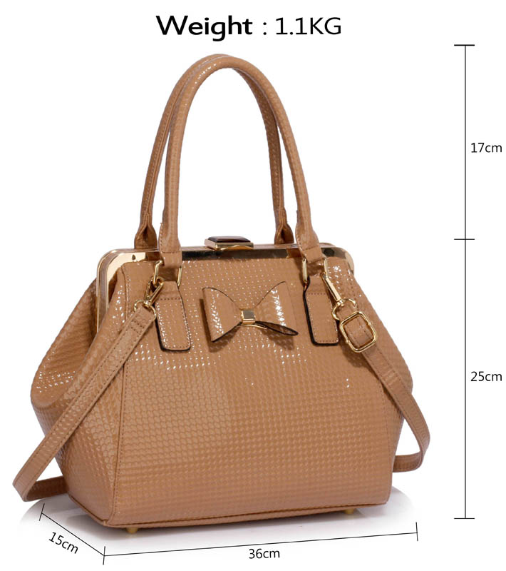 LS00258B - Nude Patent Bow Framed Satchel 5459a97be615f