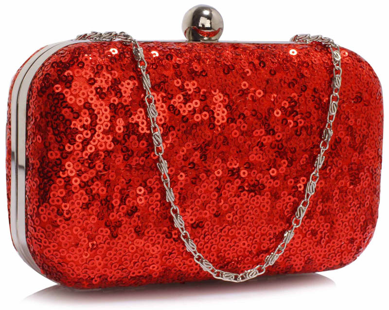 LSE00325 - Classy Red Ladies Lace Evening Clutch Bag