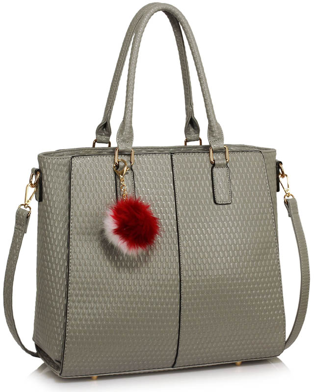 e8b4a6c84951 LS00512 - Grey Tote Grab Handbag With Faux Fur Charm